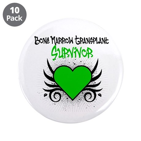 "BMT Survivor Grunge Heart 3.5"" Button (10 pack)"