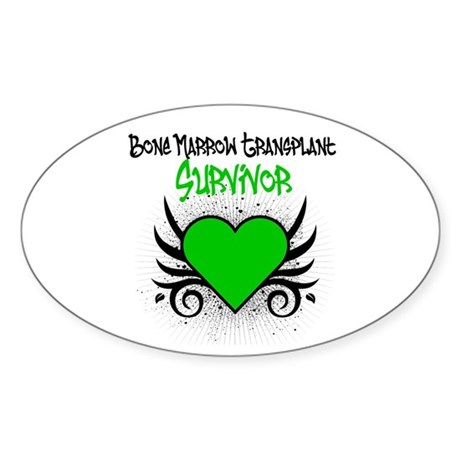 BMT Survivor Grunge Heart Oval Sticker (50 pk)