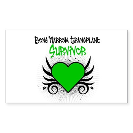 BMT Survivor Grunge Heart Rectangle Sticker 50 pk