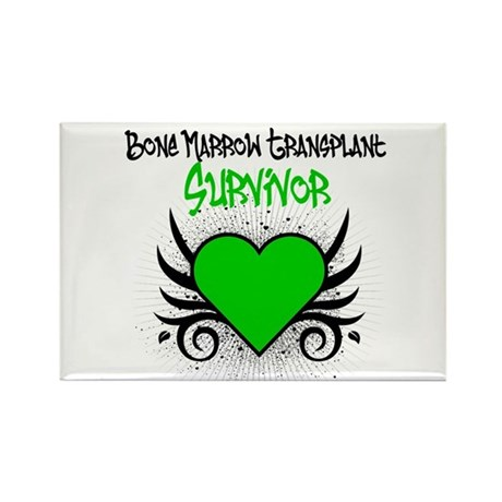 BMT Survivor Grunge Heart Rectangle Magnet (10 pac