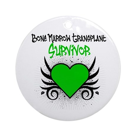 BMT Survivor Grunge Heart Ornament (Round)