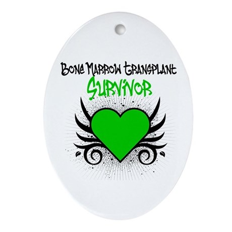 BMT Survivor Grunge Heart Oval Ornament