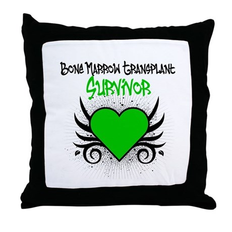 BMT Survivor Grunge Heart Throw Pillow