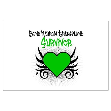 BMT Survivor Grunge Heart Large Poster
