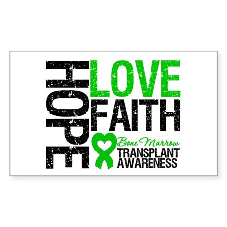 BMT Hope Love Faith Rectangle Sticker