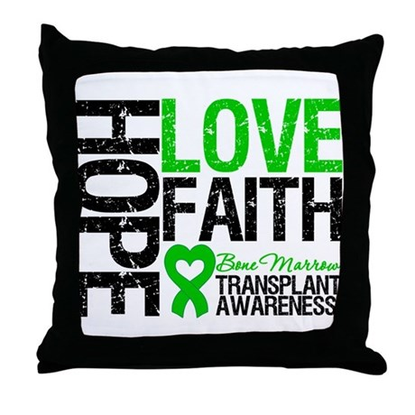 BMT Hope Love Faith Throw Pillow