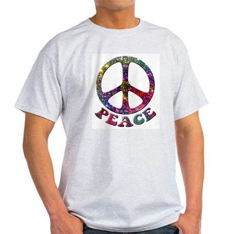 Jewelled Peace Symbol Light T-Shirt
