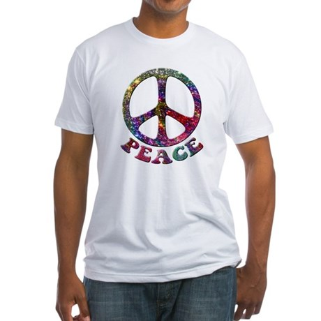 Jewelled Peace Symbol Fitted T-Shirt
