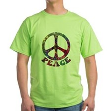 Jewelled Peace Symbol Green T-Shirt