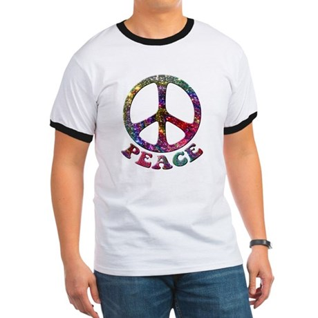 Jewelled Peace Symbol Ringer T