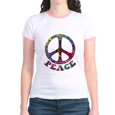 Jewelled Peace Symbol Jr. Ringer T-Shirt