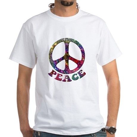 Jewelled Peace Symbol White T-Shirt