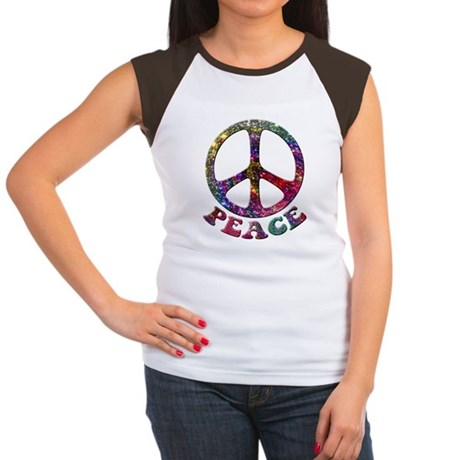 Jewelled Peace Symbol Women's Cap Sleeve T-Shirt