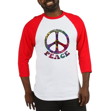 Jewelled Peace Symbol Baseball Jersey