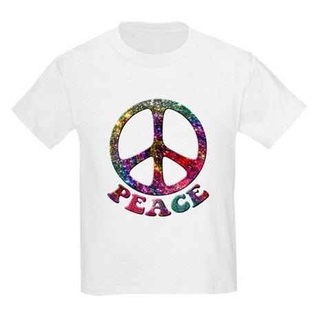 Jewelled Peace Symbol Kids Light T-Shirt