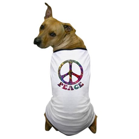 Jewelled Peace Symbol Dog T-Shirt