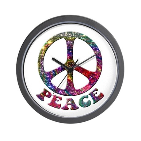 Jewelled Peace Symbol Wall Clock