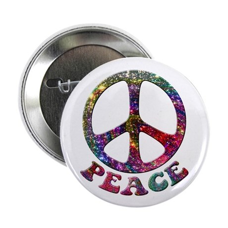 Jewelled Peace Symbol 2.25&quot; Button