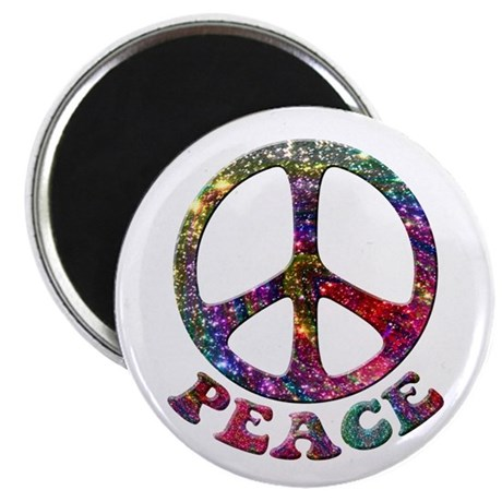 Jewelled Peace Symbol Magnet