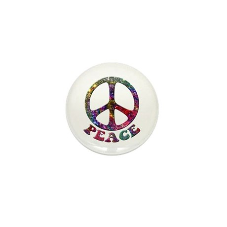 Jewelled Peace Symbol Mini Button