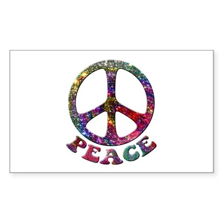Jewelled Peace Symbol Sticker (Rectangle)