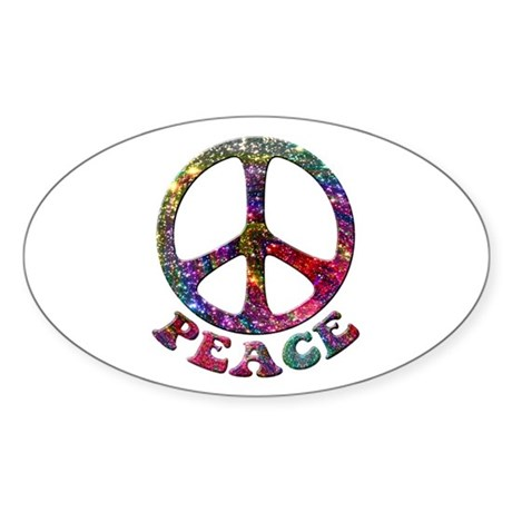 Jewelled Peace Symbol Sticker (Oval)