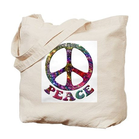 Jewelled Peace Symbol Tote Bag