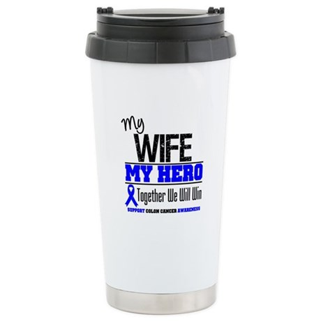 ColonCancerHero Wife Ceramic Travel Mug