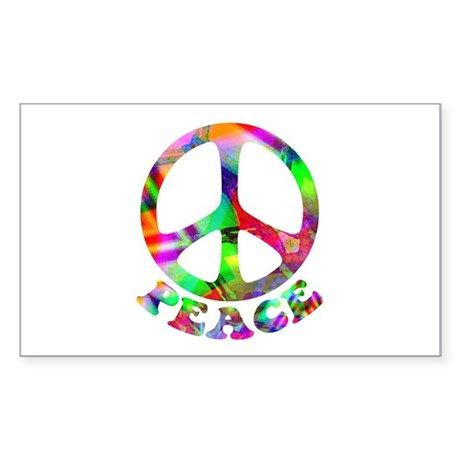 Pattern Peace Symbol Sticker (Rectangle)
