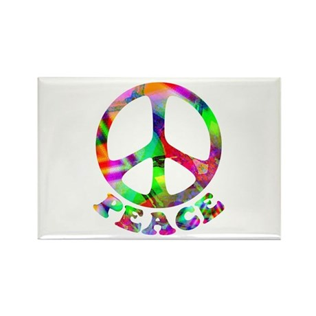 Pattern Peace Symbol Rectangle Magnet