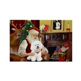 Santa's Bichon Frise Rectangle Magnet