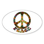 Painted Peace Symbol Sticker (Oval)