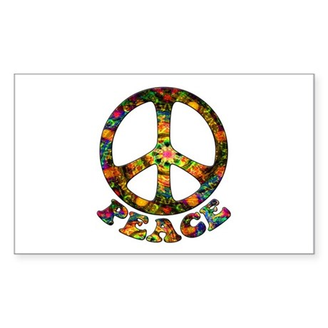 Painted Peace Symbol Sticker (Rectangle)