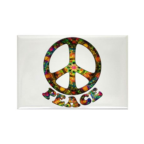 Painted Peace Symbol Rectangle Magnet