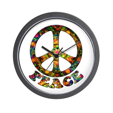 Painted Peace Symbol Wall Clock