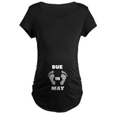 Due In May (top/black&white) Maternity T-Shirt