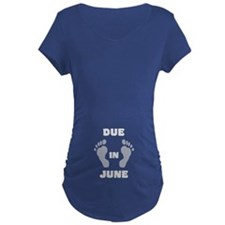 Due In June (black&white/belly) Maternity T-Sh