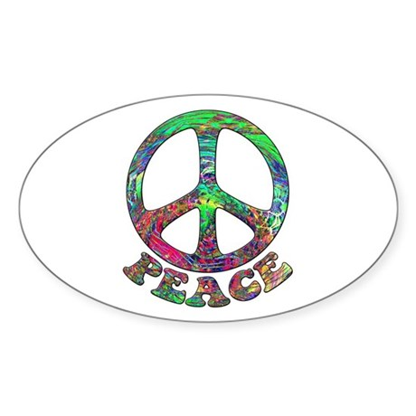 Swirling Peace Oval Sticker