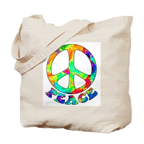 Rainbow Pool Peace Symbol Tote Bag