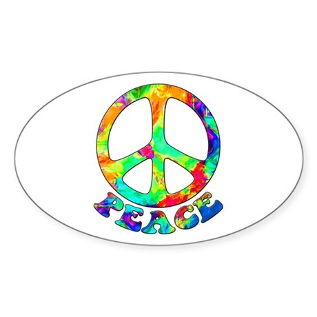 Rainbow Pool Peace Symbol Sticker (Oval)