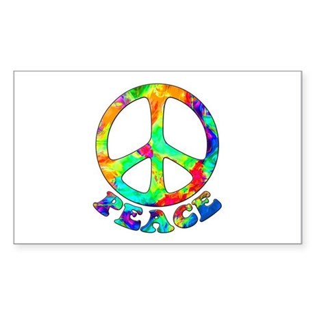 Rainbow Pool Peace Symbol Sticker (Rectangle)