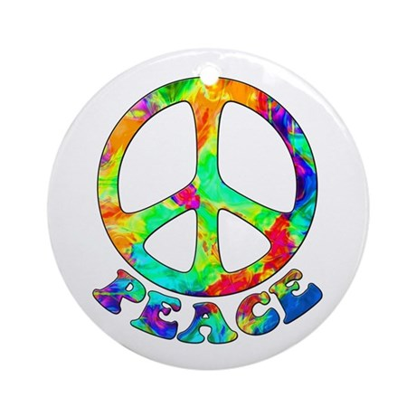Rainbow Pool Peace Symbol Ornament (Round)