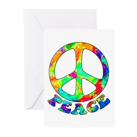 Rainbow Pool Peace Symbol Greeting Cards (Pk of 10