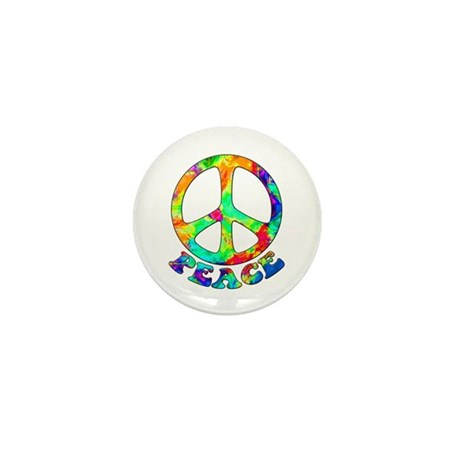 Rainbow Pool Peace Symbol Mini Button
