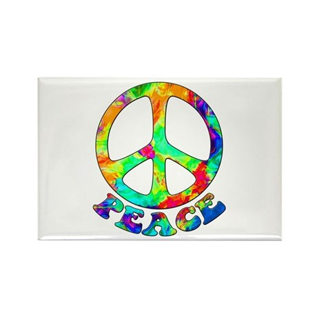 Rainbow Pool Peace Symbol Rectangle Magnet