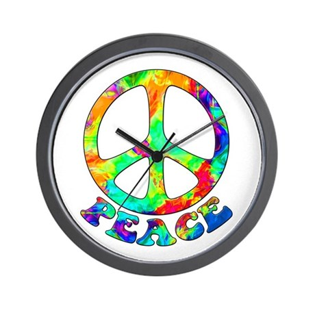 Rainbow Pool Peace Symbol Wall Clock
