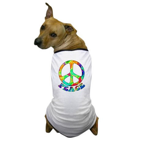 Rainbow Pool Peace Symbol Dog T-Shirt