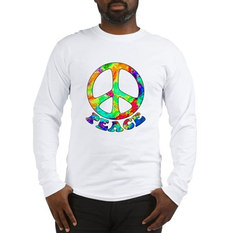 Rainbow Pool Peace Symbol Long Sleeve T-Shirt