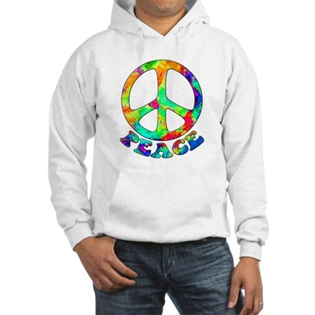 Rainbow Pool Peace Symbol Hooded Sweatshirt