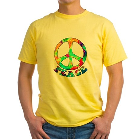 Rainbow Pool Peace Symbol Yellow T-Shirt